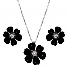 -Closeout- Wholesale Sterling Silver 925 Rhodium Plated Black Onyx Flower Clear CZ Stud Earring and Necklace Set - BGS00097
