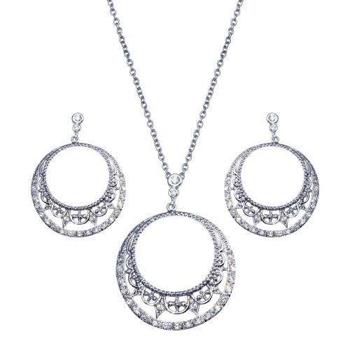 -CLOSEOUT- Wholesale Sterling Silver 925 Rhodium Plated Open Circle Crescent Clear CZ Dangling Stud Earring and Dangling Necklace Set - BGS00117