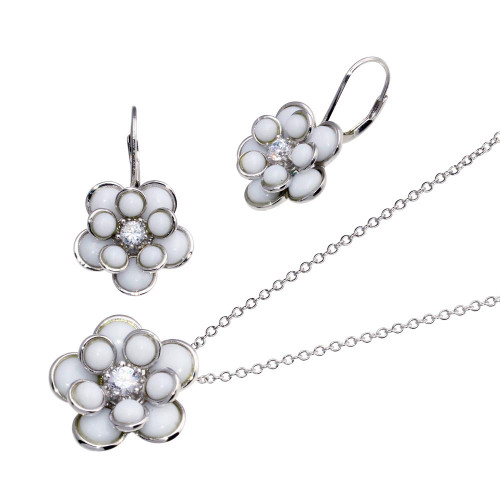 -CLOSEOUT- Wholesale Sterling Silver 925 White Enamel Clear CZ Center Flower French Clip Earring and Necklace Set - BGS00118