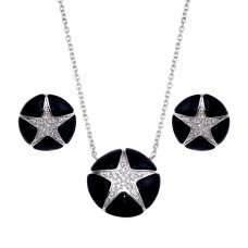 -CLOSEOUT- Wholesale Sterling Silver 925 Rhodium Plated Black Onyx Clear Star CZ Stud Earring and Necklace Set - BGS00142