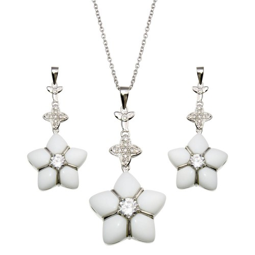 -Closeout- Wholesale Sterling Silver 925 Rhodium Plated White Onyx Clear Flower CZ Dangling Stud Earring and Necklace Set - BGS00150