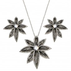 -Closeout- Wholesale Sterling Silver 925 Rhodium and Black Rhodium Plated Spiny Pointed Flower Clear CZ Stud Earring and Necklace Set - BGS00156
