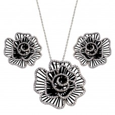 -Closeout- Wholesale Sterling Silver 925 Rhodium and Black Rhodium Plated Clear Flower Rose CZ Stud Earring and Necklace Set - BGS00157