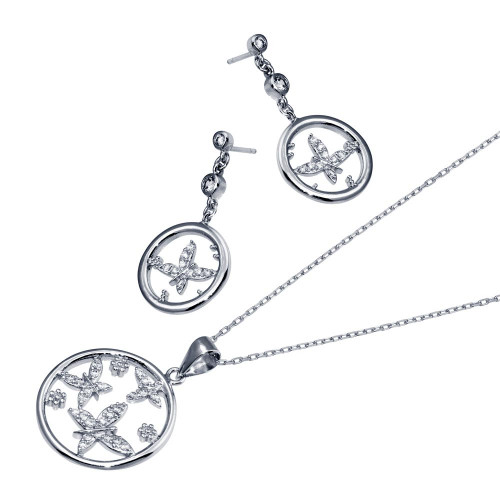 -CLOSEOUT- Wholesale Sterling Silver Rhodium Plated Open Circle Butterfly Clear CZ Dangling Set - BGS00215