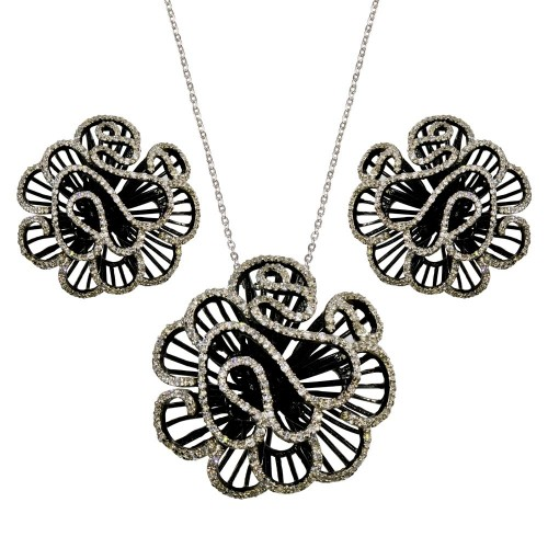 ** Closeout** Wholesale Sterling Silver 925 Black Rhodium Plated Outline CZ Flower Set - BGS00233