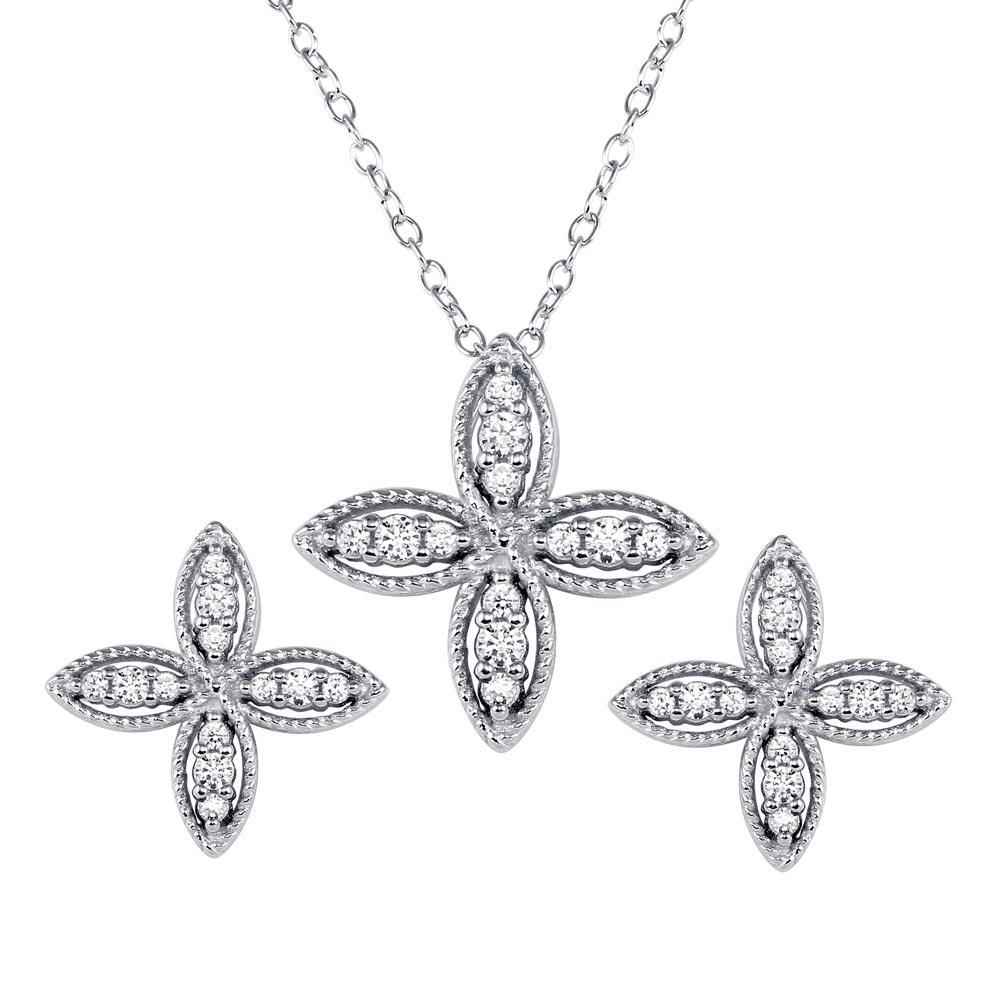 Wholesale Sterling Silver 925 Four Petal Flower Necklace and Earrings Set - BGS00550