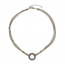 -Closeout- Wholesale Sterling Silver 925 Rhodium Plated Multi-Chain Necklace - N000002