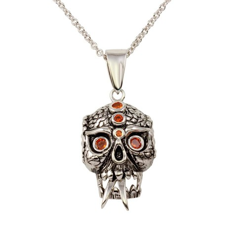 -Closeout- Wholesale Sterling Silver 925 Rhodium Plated Scary Skull Pendant Necklace with Red CZ - N000004