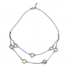 -Closeout- Wholesale Sterling Silver 925 Two-Toned Layered Necklace - N000005