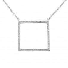 **Closeout** Wholesale Sterling Silver 925 Rhodium Plated Large Open Square Pendant Necklace with CZ - N000006