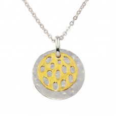 -Closeout- Wholesale Sterling Silver 925 Two-Toned Two Round Discs Pendant Necklace - N000009