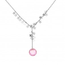 **Closeout** Wholesale Sterling Silver 925 Rhodium Plated Drop Round Pink CZ Charm Star Necklace - N000011