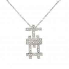 **Closeout** Wholesale Sterling Silver 925 Rhodium Plated Symbol Necklace with CZ - N000012