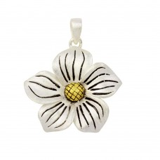 -Closeout- Wholesale Sterling Silver 925 Two-Toned Flower Pendant - P PS 704