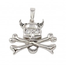 **Closeout** Wholesale Sterling Silver 925 Skull and Bones Pendant with CZ - P000005CLR