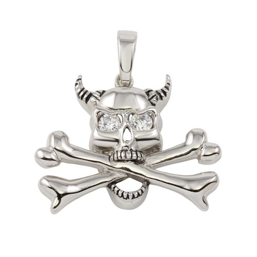 -Closeout- Wholesale Sterling Silver 925 Skull and Bones Pendant with CZ - P000005CLR