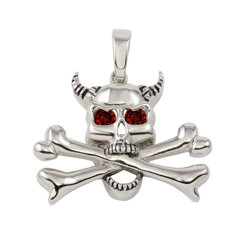 **Closeout** Wholesale Sterling Silver 925 Skull and Bones Pendant with Red CZ - P000005RD