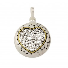 **Closeout** Wholesale Sterling Silver 925 Round Heart Pendant - P 640122