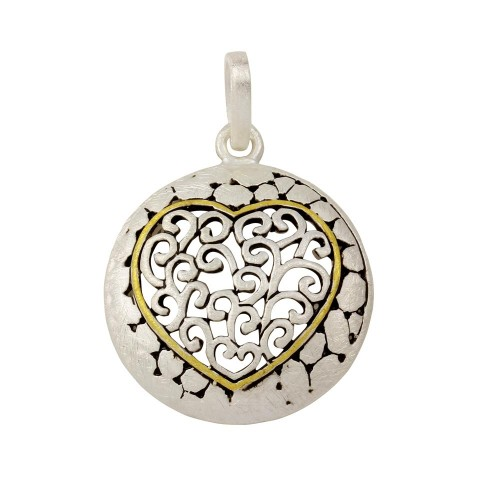 -Closeout- Wholesale Sterling Silver 925 Round Heart Pendant - P 640122