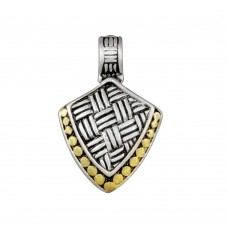 -Closeout- Wholesale Sterling Silver 925 Two-Toned Shield Pendant - P 640332