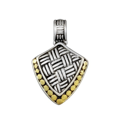 **Closeout** Wholesale Sterling Silver 925 Two-Toned Shield Pendant - P 640332