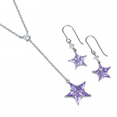 **Closeout** Wholesale Sterling Silver 925 CZ Star Drop Necklace and Earrings Set - S000001