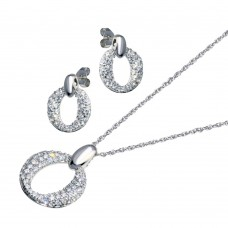 -CLOSEOUT- Wholesale Sterling Silver 925 Rhodium Plated Open Circle Oval CZ Dangling Earring and Necklace Set - STS00001