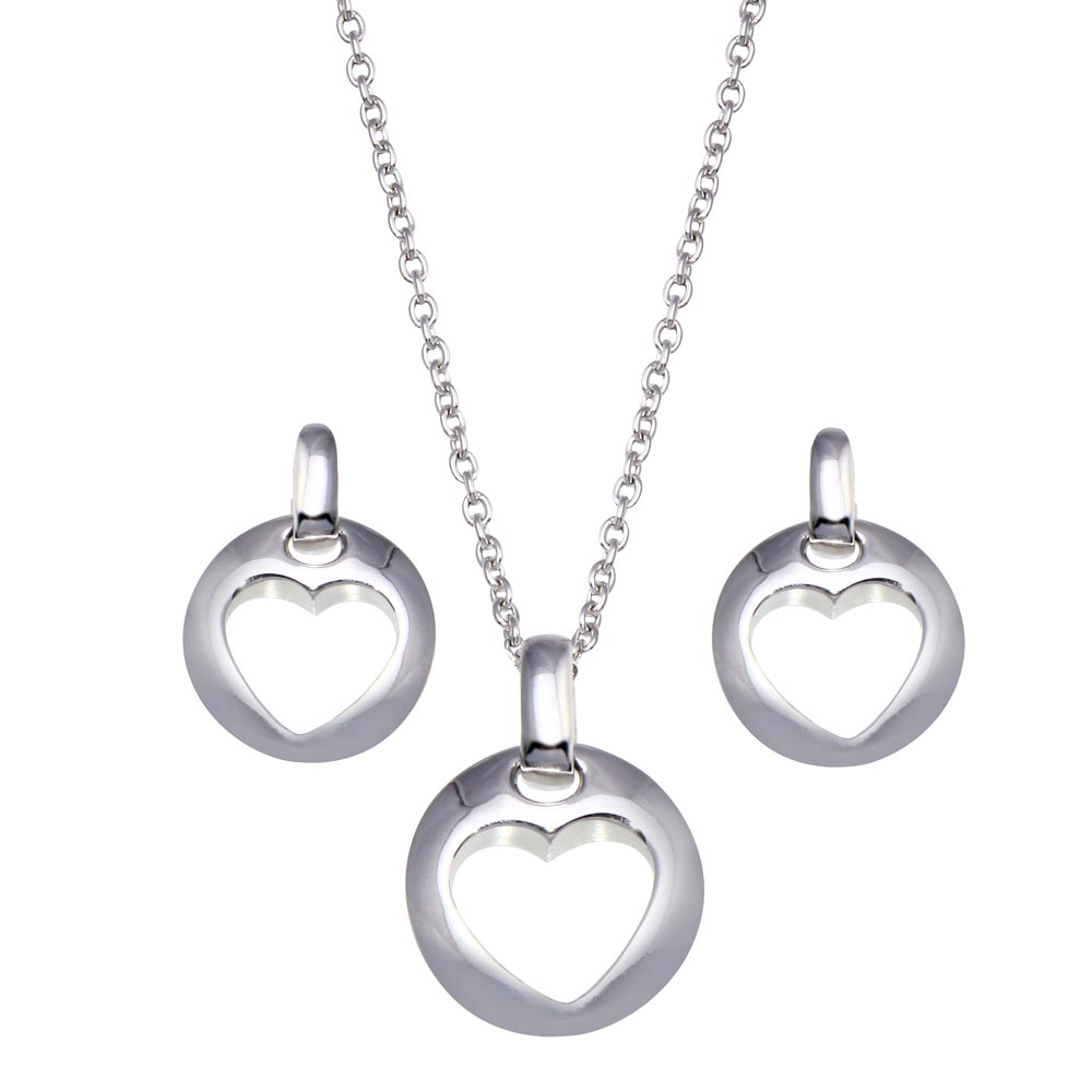 -Closeout- Wholesale Sterling Silver 925 Rhodium Plated Open Circle Heart Stud Earring and Dangling Necklace Set - STS00028