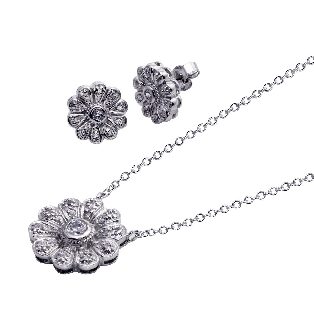 -CLOSEOUT- Wholesale Sterling Silver 925 Rhodium Plated Flower CZ Stud Earring and Necklace Set - STS00044