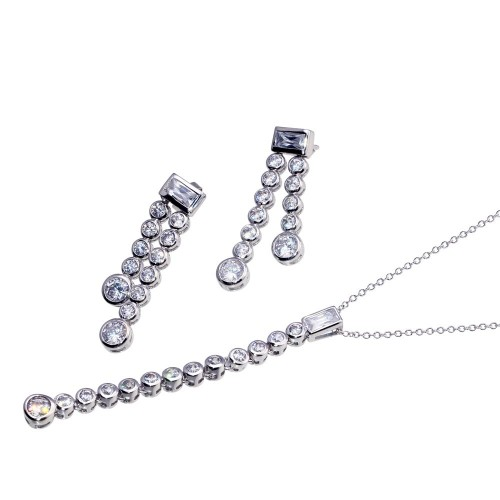 -CLOSEOUT- Wholesale Sterling Silver 925 Rhodium Plated Two Graduated Round Strand Baguette CZ Stud Earring and Necklace Set - STS00045