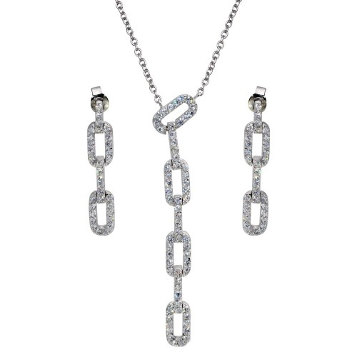 -CLOSEOUT- Wholesale Sterling Silver 925 Rhodium Plated Multiple Rectangle CZ Dangling Stud Earring and Necklace Set - STS00081