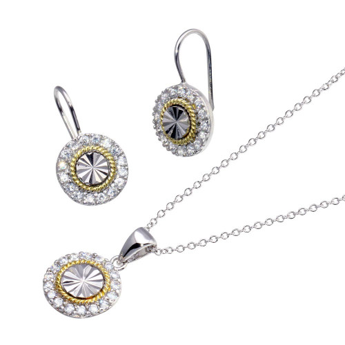 -Closeout- Wholesale Sterling Silver 925 Gold and Rhodium Plated Round CZ Stud Earring and Necklace Set - STS00095