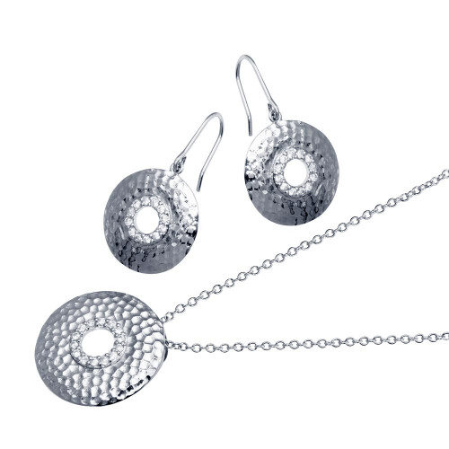 -Closeout- Wholesale Sterling Silver 925 Rhodium Plated Round CZ Hook Earring and Necklace Set - STS00101