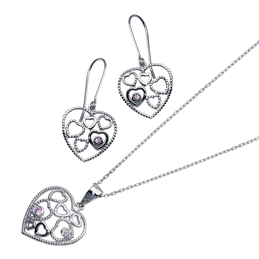 -Closeout- Wholesale Sterling Silver 925 Rhodium Plated Graduated Multiple Open Heart CZ Hook Earring and Necklace Set - STS00143