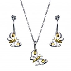 -CLOSEOUT- Wholesale Sterling Silver 925 Gold and Rhodium Plated Butterfly CZ Dangling Hook Earring and Necklace Set - STS00146