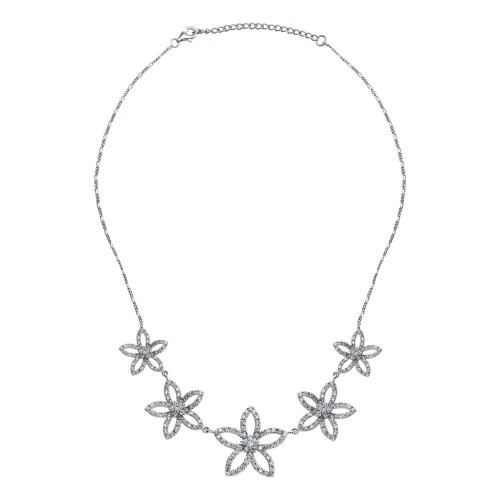 -CLOSEOUT- Wholesale Sterling Silver 925 Rhodium Plated Open Flower CZ Stud Earring and Necklace Set - STS00148