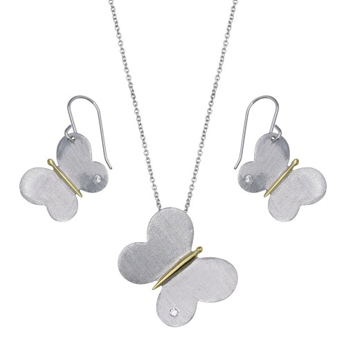-CLOSEOUT- Wholesale Sterling Silver 925 Gold and Rhodium Plated Butterfly CZ Dangling Hook Set - STS00149