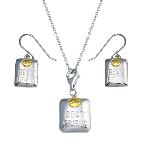 -CLOSEOUT- Wholesale Sterling Silver 925 Gold and Rhodium Plated Best Friend Hoop Earring and Necklace Set - STS00150