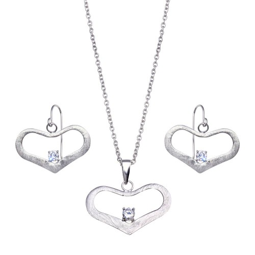 -Closeout- Wholesale Sterling Silver 925 Rhodium Plated Open Wide Heart CZ Dangling Hook Earring and Necklace Set - STS00155