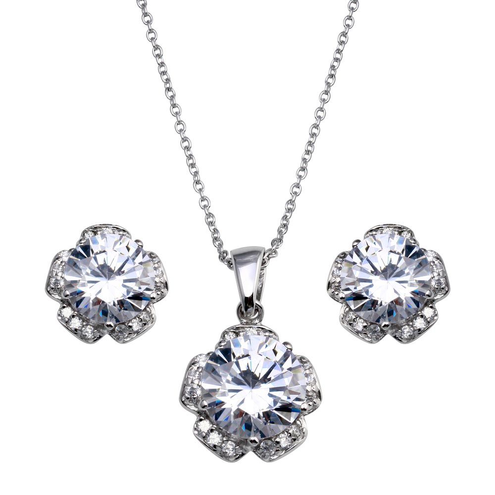 -CLOSEOUT- Wholesale Sterling Silver 925 Rhodium Plated Flower CZ Stud Earring and Necklace Set - STS00165