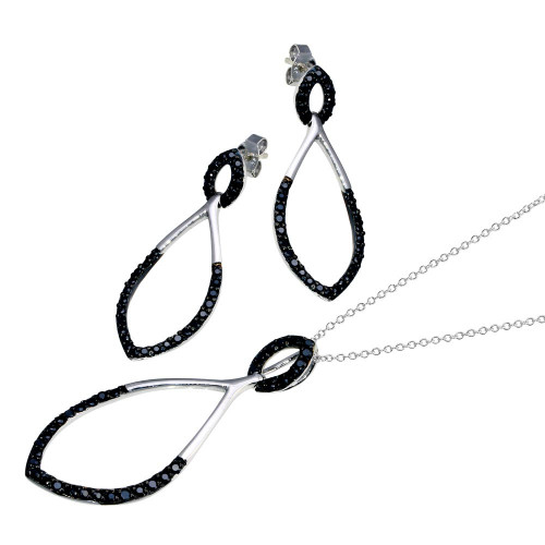 -Closeout- Wholesale Sterling Silver 925 Black and Rhodium Plated Open Teardrop Marquis CZ Stud Earring and Necklace Set - STS00183