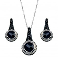 -Closeout- Wholesale Sterling Silver Black and Rhodium Plated Round CZ Hook Earring and Necklace Set - STS00185