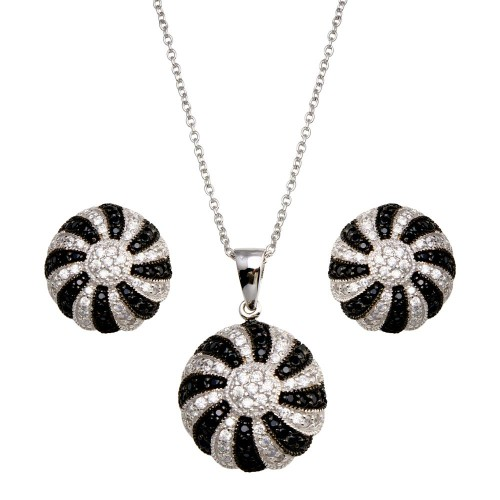 -Closeout- Wholesale Sterling Silver 925 Rhodium Plated Round Black and Clear CZ Earring and Necklace Set - STS00212