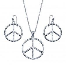 -CLOSEOUT- Wholesale Sterling Silver 925 Rhodium Plated Open Peace Sign CZ Dangling Hook Earring and Necklace Set - STS00219