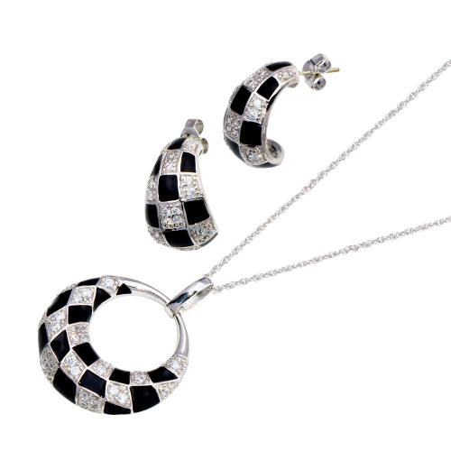 -Closeout- Wholesale Sterling Silver 925 Rhodium Plated Open Circle Checkered CZ Crescent Stud Earring and Necklace Set - STS00223
