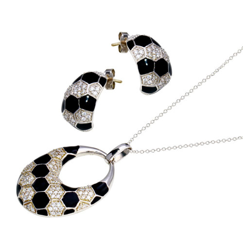 -Closeout- Wholesale Sterling Silver 925 Rhodium Plated Open Circle Checkered CZ Crescent Earring and Necklace Set - STS00224
