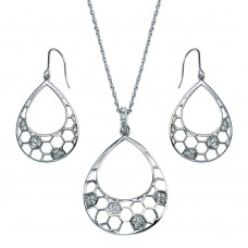 -CLOSEOUT- Wholesale Sterling Silver 925 Rhodium Plated Open Teardrop CZ Dangling Hook Earring and Necklace Set - STS00316