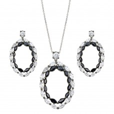 -Closeout- Wholesale Sterling Silver 925 Rhodium Plated Open Marquis Black and Clear CZ Dangling Earring and Necklace Set - STS00343