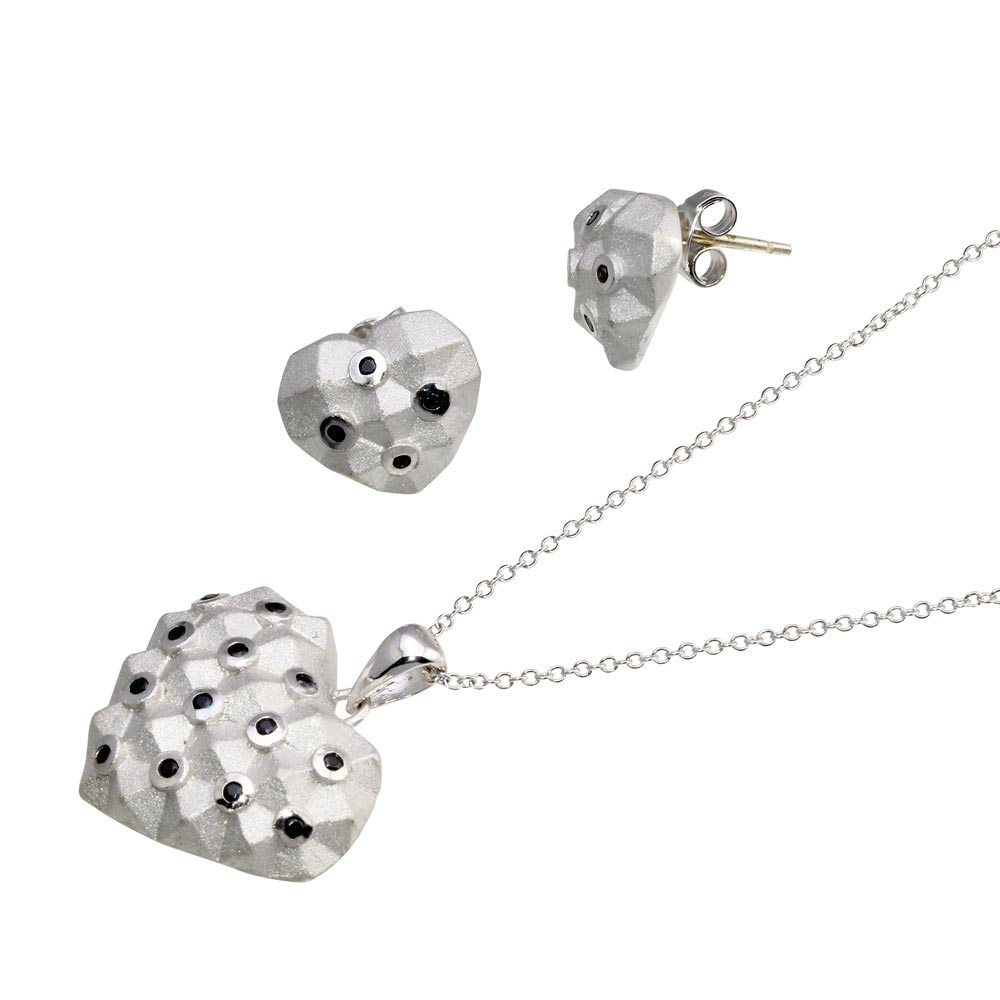 -Closeout- Wholesale Sterling Silver 925 Rhodium Plated Black Polka Dot Heart CZ Set - STS00380