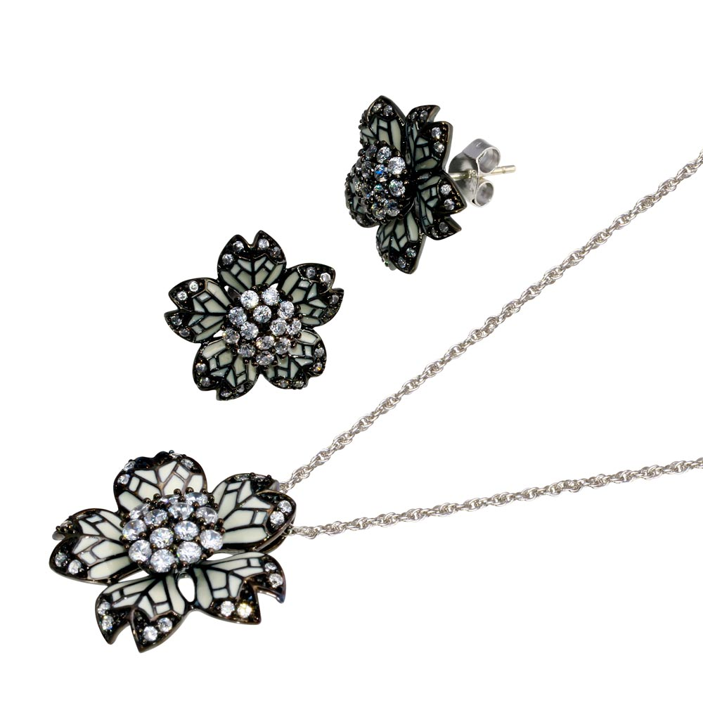 -Closeout- Wholesale Sterling Silver 925 Black Rhodium Plated Flower White Enamel CZ Set - STS00388